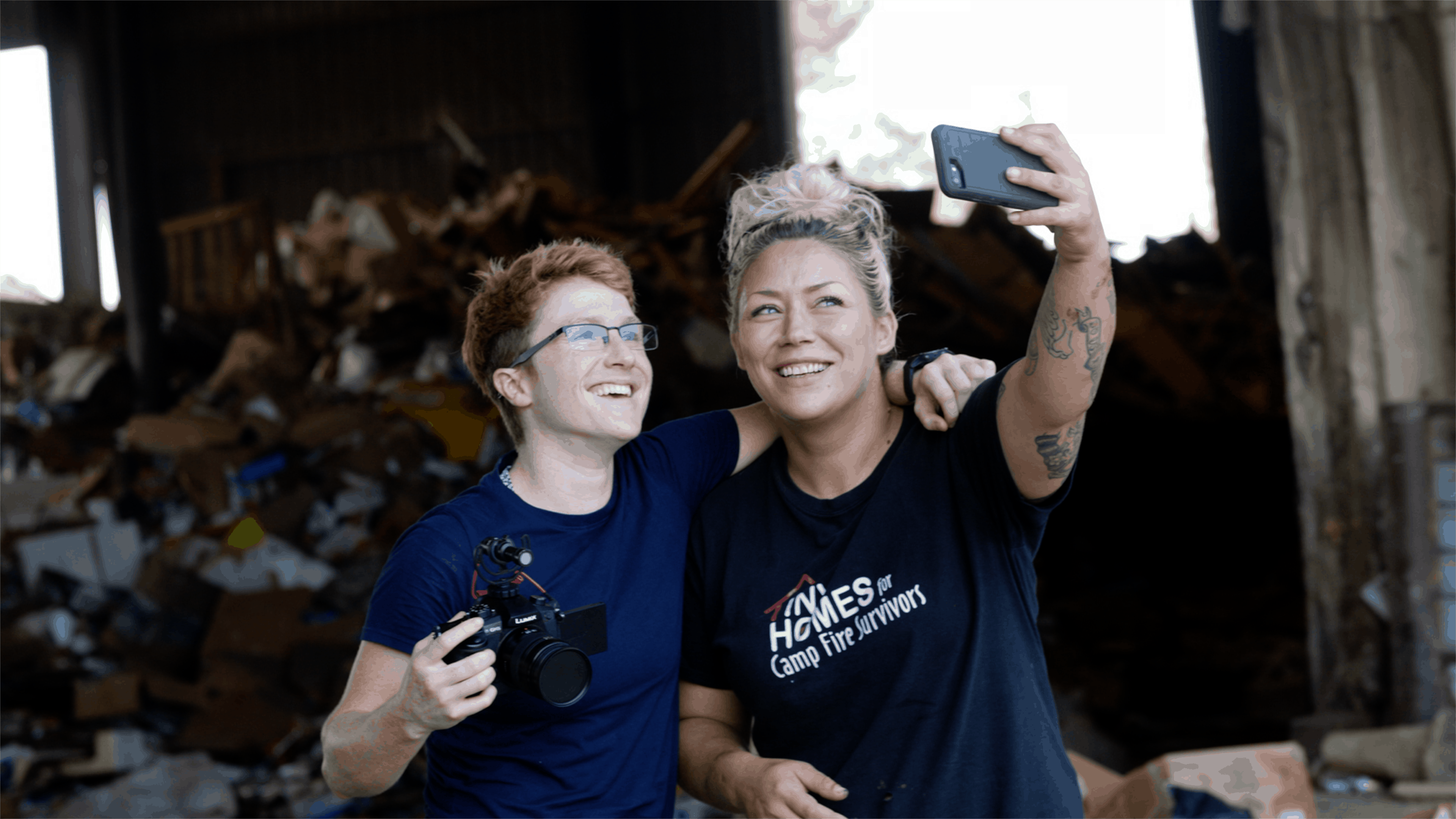 Filmmaker Amanda Lipp with Alyssa Nolan-Cain, a local Butte County resident and single mother of three who learned how to build tiny homes for California fire survivors by watching over 2,000 hours of YouTube videos